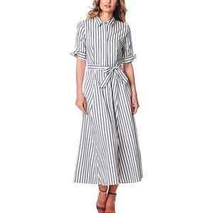 Calvin Klein Elbow Length Striped Long Dress